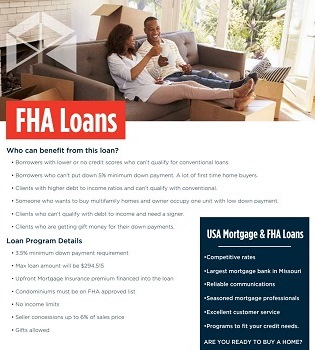 FHA Loans Flyer | USA Mortgage - Columbia, Missouri